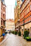 Rues et architecture de ville Malmö dans Noël et la saison des vacances en Suède Images stock