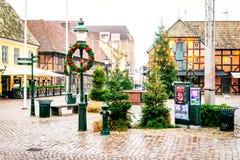 Rues et architecture de ville Malmö dans Noël et la saison des vacances en Suède Images libres de droits