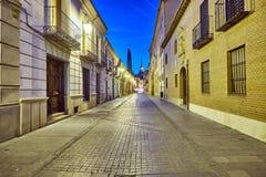 Rues et foire médiévale (fermées) en Alcala de Henares, dur d'aube Photos libres de droits
