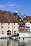 Rues et remblai de la ville suisse de Solothurn photos libres de droits