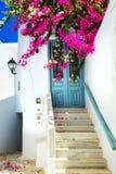 Rues florales avec du charme dans Mykonos, Cyclades, Grèce photo stock