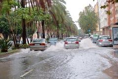 Rues inondées à Malaga, Espagne photo stock