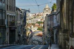 Rues romantiques de Lisbonne Images libres de droits