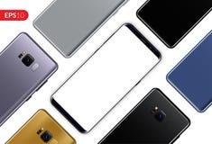 Rufen Sie, die diagonale Zusammensetzung des beweglichen Smartphonedesigns an, die auf weißer Hintergrundschablone lokalisiert wi Lizenzfreies Stockbild