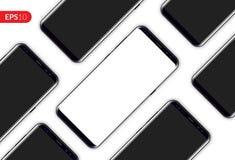 Rufen Sie, die diagonale Zusammensetzung des beweglichen Smartphonedesigns an, die auf weißer Hintergrundschablone lokalisiert wi Stockfoto