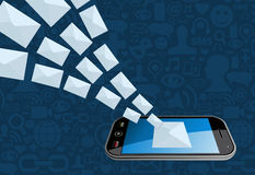 Rufen Sie E-Mail-Marketing-Ikonenspritzen an Lizenzfreie Stockfotografie