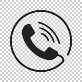 Rufen Sie Ikonenvektor, Kontakt, Beistandsservicezeichen auf lokalisiertem BAC an Lizenzfreie Stockfotografie