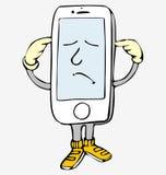 Rufen Sie, lustiger kleiner Mann von einem intelligenten Telefon an Lizenzfreie Stockbilder