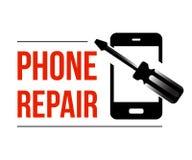 Rufen Sie Reparaturtext mit abstraktem Telefon und Schraubenzieher an vektor abbildung