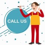 Rufen Sie uns Mechanikertechniker-Telefonservice stehende Charakterkarikatur an Stockfotografie