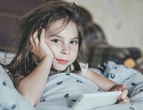 Ruffled girl in the morning. Stock Photography
