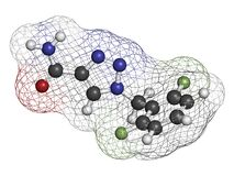 Rufinamide seizures drug molecule. Atoms are represented as spheres with conventional color coding: hydrogen (white), carbon (grey