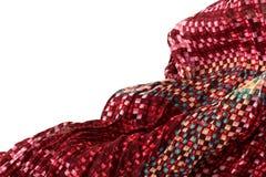 Rufsat till silkeslent rött tyg Royaltyfri Bild