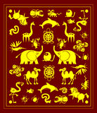 Rug with animals. The illustration shows the pattern in the form of a carpet with image silhouette of wild animals. Yellow icons of mammals, reptiles, insects Stock Photos