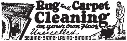 Rug And Carpet Cleaning. Retro Ad Art Banner stock illustration