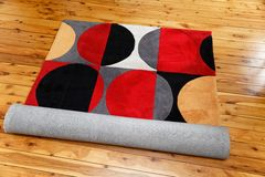 Rug with colourful circle patterns. A rug with colourful circular patterns Royalty Free Stock Photos