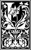 Rug en het Wit van L van de bloemen de decoratieve brief Stock Afbeelding