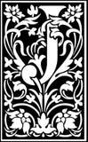 Rug en Wit van de bloemen het de decoratieve brief J Royalty-vrije Stock Fotografie