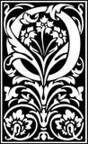 Rug en Wit van de bloemen het de decoratieve brief O Royalty-vrije Stock Fotografie