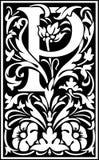 Rug en Wit van de bloemen het de decoratieve brief P Stock Afbeeldingen