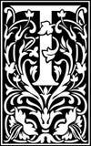 Rug en Wit van de bloemen het de decoratieve brief T Royalty-vrije Stock Afbeeldingen