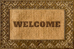 Rug for entrance with Welcome caption Royalty Free Stock Image