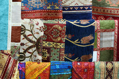 Rug fabric from Turkey in Bazaar Royalty Free Stock Images