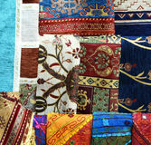 Rug fabric from Turkey in Bazaar Royalty Free Stock Image