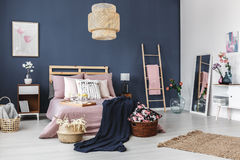Rug on the floor. Stylish modern apartment with cute decorations and rug on the floor stock image