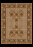 Rug in a light brown tones with patterned hearts in the center Royalty Free Stock Image