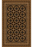 Rug with patterned beige and brown shades on a black background. Luxurious bright old oriental rug with patterned beige and brown shades on a black background Royalty Free Stock Photo