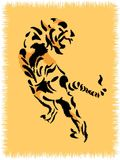 Rug with tiger. The tiger creeps to extraction. Vector illustration Stock Photo