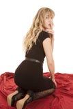 Rug van het de kledings rode blad van de vrouw de zwarte stock foto