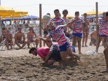 Rugbi Rosolina 2016 de la playa - los tipos de la playa combinan Fotos de archivo
