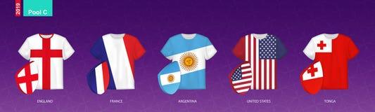 Rugbyärmlös tröja med flaggan av pöl C royaltyfri illustrationer
