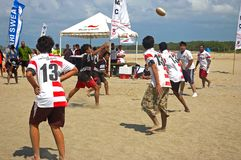 Rugby 5's played on the beach Stock Photos
