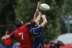 Rugby action. Rugby players fighting for ball during the match between Steaua Bucharest and Farul Constanta in the Romanian Rugby National Championship Stock Photography