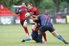 Rugby action. Rugby players fighting for ball during the match between Steaua Bucharest and Farul Constanta in the Romanian Rugby National Championship Royalty Free Stock Image