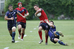Rugby action. Rugby players fighting for ball during the match between Steaua Bucharest and Farul Constanta in the Romanian Rugby National Championship Stock Photos