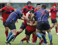 Rugby action. Rugby players fighting for ball during the match between Steaua Bucharest and Farul Constanta in the Romanian Rugby National Championship Royalty Free Stock Images