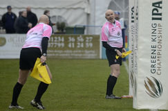Rugby referees. English RFU referees pictured in action during the Greene King IPA Championship game between Bedford Blues and Ealing Trailfinders on 5th March Royalty Free Stock Images