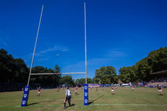Goal Kick Posts Ball Rugby Kearsney. Rugby action of 1st teams high school players of mature young men between Kearsney College and Framesby Boys High School at royalty free stock photo