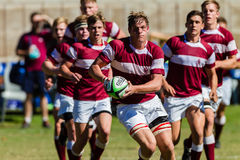 Player Forward Ball Rugby Kearsney. Rugby action players Kearsney College and Framesby High School royalty free stock photo