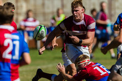Player Forward Ball Rugby Kearsney. Rugby action players Kearsney College and Framesby High School royalty free stock images