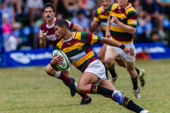 Player Centre Ball Action Rugby Paarl Gymn. Rugby action of 1st teams high school players of mature young men between Kearsney College and Paarl Gymnasium High stock photo