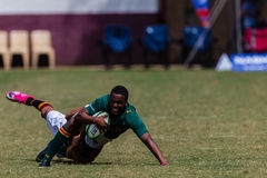 Players Ball Tackled Rugby Glenwood Stock Photo