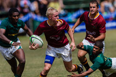 Players Challenge Ball Rugby Paul Roos. Rugby action of 1st teams high school players of mature young men between Paul Roos Gymn and Glenwood Boys High School at royalty free stock photography