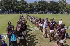 Rugby Action 1st Teams High Schools. Dale SACS High school 1st teams rugby action Kearsney College Rugby festival Botha Hill Durban South Africa Royalty Free Stock Photos