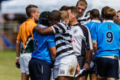 Players Handshakes Rugby Game Over Stock Image