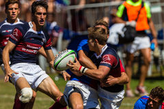 Players Ball Tackle Rugby Westville. Rugby action Westville Boys High School and Paul Roos Gymn at Kearsney Royalty Free Stock Image